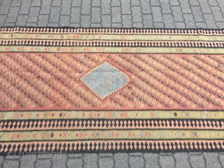 Very long antique Persian Zand kilim from West-Persia, size: ca. 480x113cm / 15'8''ft x 3'7''ft , age: circa 1910-1920