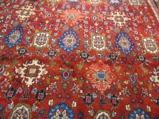 Highly decorative antique Malayer rug. Rare squarish size:ca. 400x395cm / 13'1''ft x 12'9''ft Good overall condition.