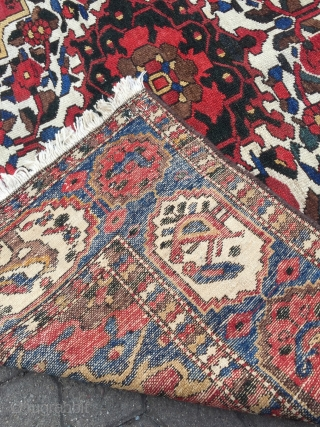 Colorful Persian Bakhtiary rug with lots of flowers and birds, age: circa 1920, size: ca. 205x150cm / 6'7''ft x 5ft