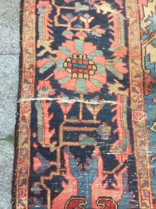 Antique Persian oversize Serapi Heriz carpet, very decorative. 19th century, fine and clear knot quality, beautiful wide border. Some obvious condition problems, still very decorative. Size: 495x310cm / 16'3''ft x 10'2''ft
