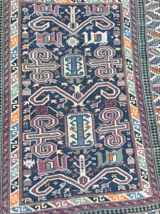 A lovely small Caucasian Shirvan Perepedil rug, size: ca. 110x90cm / 3'6''ft x 3ft, a little bit reduced at the top.