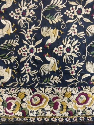 RARE ANTIQUE GARA SAREE FROM INDIA dating 1850. ITS IN VERY GOOD CONDTION AND RARE PATTERN WITH ALL OVER birds. It measure 107 inches by 45.5 inches.very good colours.