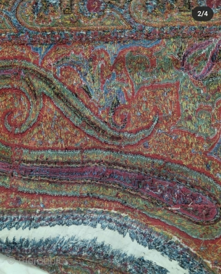 Beautiful antique kashmir shawl in excellent condition. Fine colours. 9.5 feet long 4 feet wide. Thanks