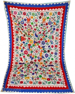 Antique Vintage Exquisite Kutch Banjara 100s hand Embroidered with extensive mirror work Sari Indian Toran Valence Window or Wall Hanging Tapestry from the Kutch region of Gujarat in Western India Size Large.You  ...