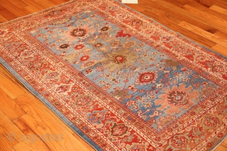 "Beautiful Antique Blue Background Persian Sultanabad Rug 49209, Size: 3'9"" x 5'6"", Country of Origin / Rug Type: Persian Rug, Circa Date: 1880 - A vibrant interplay between red and light blue spreads over  ..."