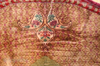 """Antique Silk Kerman Horse Cover 44718, Size: 3' x 3'1"""", Country of Origin: Persia, Circa Date: Late 19th century -This magnificent silk horse cover created in Kerman features a formal composition with  ..."""