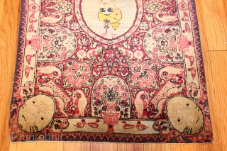 "Antique Kerman Persian Rug 43906, Size: 2'2"" x 3'3"", Country of Origin: Persia, Circa Date: Late 19th Century - Indicated by the jewels, plumed turban ornament, and the profusion of symbolic swans,  ..."