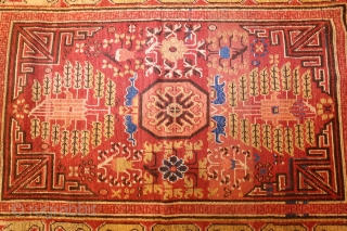 """Beautiful and Rare Small Antique Khotan Rug 48846, Size: 3'9"""" x 5'3"""", Country of Origin: East Turkestan, Circa Date: Early 18th Century-This antique Khotan rug is vividly rendered in warm, autumnal shades,  ..."""