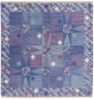 Scandinavian Rug 46847, Size: 6' x 6', Sweden, Mid 20th Century - This mid-century Scandinavian vintage rug depicts a stunning pattern of tiled geometric stars accompanied by textural accents and modern ornaments.  ...