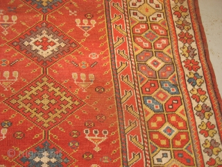 Turkish Melas 4.1 by 5.1. wonderful color, nice pile 19th cent. Bendas Rugs