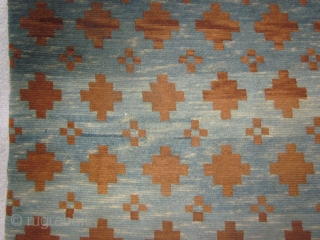 Tibetan Large khaden, abt 3 by 6 ft, overall  geometric design in brown on a strongly abraashed indigo field. Excellent condition.abt 1900