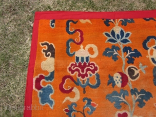 Tibetan Monastery pillar rug, slightly reduced, some moth tracks, abt 4 by 7 ft, c.1930