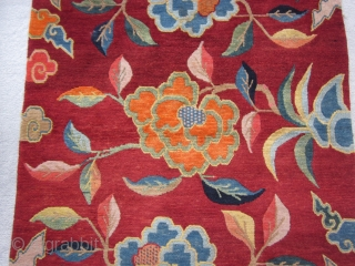 """Tibetan Khaden, sitting and sleeping rug, 3' by 5'3"""",c.1920-30. Dynamic tree of life motif, and lively display of lotuses, all emerging from the sacred mountain (Meru) at the center of the World.  ..."""