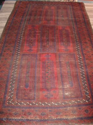 """Nice Belouch main rug. All good colors. Uneven wear with some visible knot heads and one repair. A real beauty! Size is 5'10""""x10'  You can check it out at our shop  ..."""