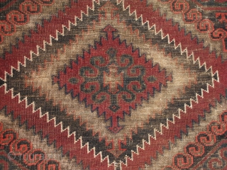 """Super cool Baluch rug! 100% complete with some low areas throughout. 3'7"""" x 5'7"""" http://www.nomadrugs.com/Merchant2/merchant.mvc?Screen=PROD&Store_Code=NR&Product_Code=6930&Product_Count=&Category_Code="""