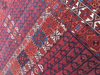 """Lovely Antique Ersari Ensi. ca.1880. 60""""x 82"""" (including kilim ends) Good pile over all. Great color. No stains. A few old touch ups on the selvage and a couple of old knots in  ..."""