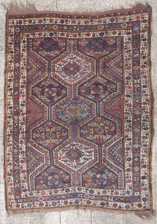 """Classic Khamseh rug  ca. 1900 - 4'.8"""" x 5'.10"""" Wonderful natural color. Good even pile with glossy wool.  All original with no repairs or damage. Clean."""