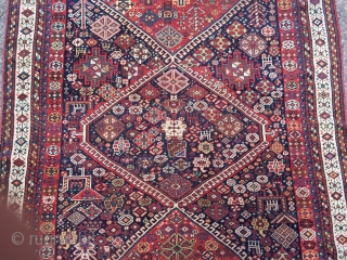 Qashqai (possibly Khamseh) rug. ca 1870. 5.5' x 9' Clear, saturated color. Very solid, good condition with even low pile. No repairs, stains or damage. No foundation showing. Kilim ends still mostly  ...