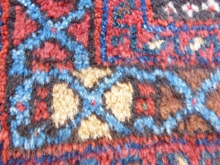 Nicely coloured Afshar rug with camel colour background wool (in real life is less white and more camel colour) and lovely blue and greens. In mint condition with long soft pile and  ...