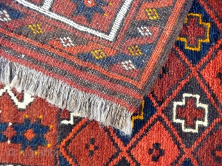 Turkoman Kizil Ayak.  A cute prayer rug with nice wool, full pile and checkered central field. Mint condition with full pile. 122x68cms (A1812020).