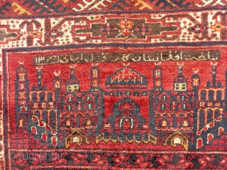 Turkoman Kizil Ayak, North Afghanistan. An unusual prayer rug with a naughty looking character, dated (1341) and with an inscription. Finely woven with shinny wool. Although is not so old, it has  ...
