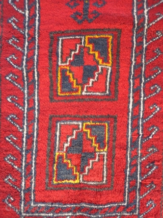 A Kyrgiz prayer rug from North East Afghanistan. Nice soft wool and in mint condition with typical Uzbek yellow highlights. 116x83 cms, (A1710034).