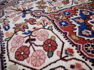 A very fine pushti or small rug from Malayer, Iran, with a high density knot count, soft shinny wool, all good colours,full pile, in one side the original kilim end, and in  ...