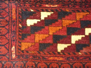 Afghan traping. Full thick, dense pile and quite finely woven. Natural colours (I have tried to photograph it in different settings and always appears redish but in fact is more towards brown!).  ...