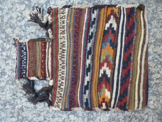 sw Iran salt bag, 60x47cms, good original condition with goat wool binding and warp and warp continuation straps, nice colours, good for storing a lot of salt or invoices inside.