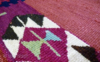 A superb Afghan Mugor kilim with natural dyes from Ghazni Province. For this kilim sheep and goat´s wool and some areas of silk and metal thread has been used. The tassels are  ...