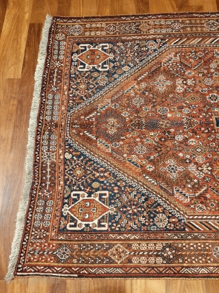 Collection piece, antique Qashqai rug, 250x157cms, soft natural colours, wonderful intricate design and excellent original condition with full even pile, sourced on our last trip to Iran, bought from a private individual  ...