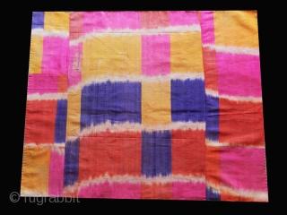 """Ikat fragment cod. 0765. Central Asia. Silk and cotton. early 20th. century. Dimension cm. 67 x 74 (26"""" x 29"""")."""
