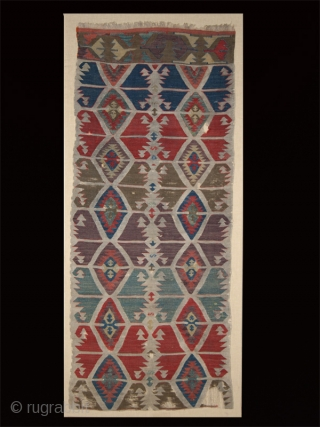 "Kilim fragment cod. 0665. One of the items posted on my new website www.nonplusultra.cloud.   Wool. Anatolia. Early 19th. century. Cm. 66 x 165 (2'2"" x 5'5""). Very good condition with  ..."