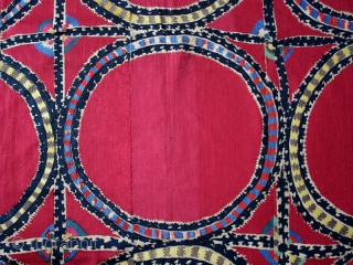 Suzani cod. 0565. One of the items posted on my website www.nonplusultra.cloud. Six cotton panels with silk and wool embroidery on cotton. Tashkent region. Central Asia. Mid. 19th. century. Excellent condition. Cm.  ...