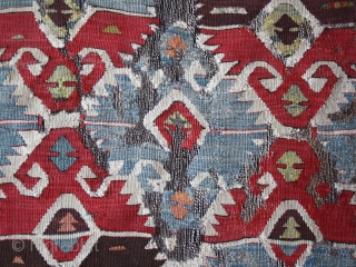 """Kilim fragment cod. 0674. One of the items posted on my website www.nonplusultra.cloud. Wool, natural dyes. South Anatolia. Early 19th. century. Dimension cm. 85 x 150 (34"""" x 59""""). Professionally mounted on  ..."""