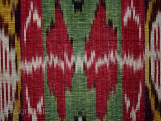 "Ikat fragment cod. 664. One of the item posted on my new website www.nonplusultra.com.  Silk cotton traditional dyes. Bokhara area. Central Asia. Late 19th. century. Cm. 46 x 40 (1'6"" x  ..."