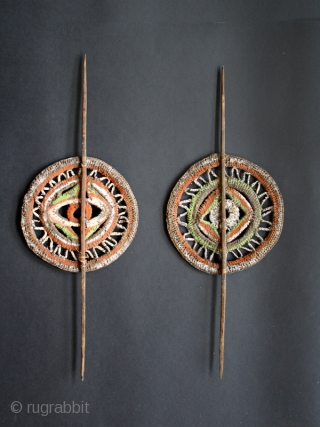 Set of 2 yam decorations cod. 0530. One of the new items just posted on my website www.nonplusultra.cloud.  Woven cane, natural pigments. Abelam people. East Sepik area. Circa 1960's. Very good  ...