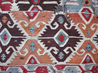 "Kilim fragment cod. 0674. One of the new items just posted on my website www.nonplusultra.cloud. Wool, natural dyes. South Anatolia. Early 19th. century. Dimension cm. 85 x 150 (34"" x 59""). Professionally  ..."