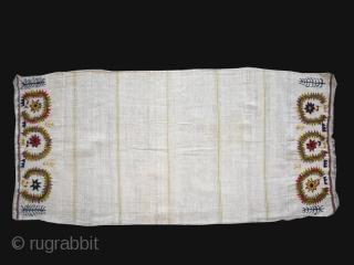 "3 Ottoman embroideries early 20th. century Balkan area. Dimension left cm. 49 x 55 (19"" x 21.5"") center cm. 46 x 97 (18"" x 38"") right cm. 22 x 166 (8.7"" x  ..."