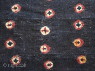 "Tigma monastery runner  ""Nambu"" fragment. Tied-dyed wool plain weave. Tibet. Circa 1850 or earlier. Good condition with some holes, patches, rewoven. Cm. 84 x 140 (33"" x 55"")."