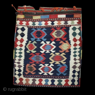 Shahsavan saddlebag. Bijar area. Persia. 19th. century. Cm. 64 x 56 ( 25 x 22 inches). Perfect condition. Stunningly rich array of natural colors with a beautiful stripped back.
