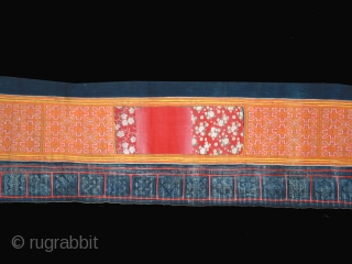 """Woman' s skirt cod. 0096. Cotton embroidery on cotton. Hmong hilltribe. Laos. Circa 1960's. Very good condition. Cm. 48 x 488 ( 1'7"""" x 16').         ..."""