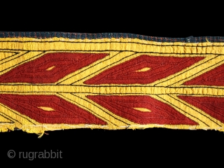 Chyrpy collar cod. 0019. One of the new item just added on my website www.nonplusultra.cloud. Hand-embroidered very fine silk lacing stich (kesdi) on yellow handwoven silk. Tekkè people. Central Asia.19th. century. Good  ...