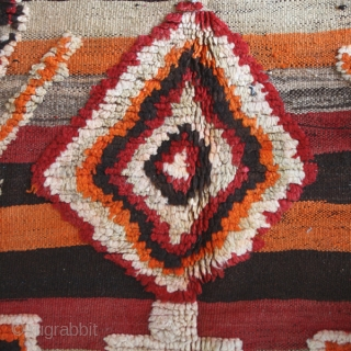 "Flatwoven rug cod. 0370. One of the new items just posted on my website www.nonplusultra.cloud. Wool traditional dyes. Berber people. Marrakech Plains. Morocco. Mid. 20th. century. Good condition.Cm. 155 x 275 (5'1""  ..."