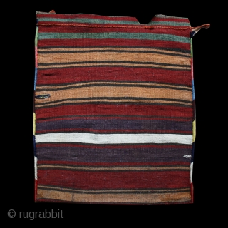 Shahsavan saddlebag cod. 0682. Bijar area. Persia. 19th. century. Cm. 64 x 56 ( 25 x 22 inches). Perfect condition. Stunningly rich array of natural colors with a beautiful stripped back.
