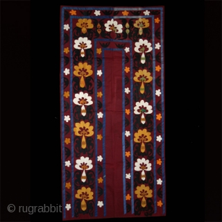 """Suzani. Silk embroidery on cotton. Uzbekistan. Central Asia. first half 20th. century. Perfect condition. Cm. 110 x 215 (3'7"""" x 7'). Backed with a Russian trade textile."""