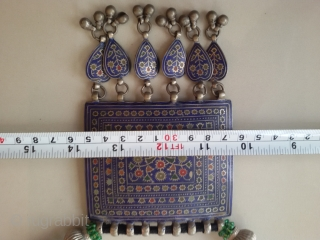 Antique Multan Silver enameled large tribal necklace from Multan Pakistan.Multan an ancient city and is known and famous as the city of saints and Sufi's.