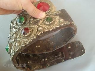 Rare antique Tribal Afghan leather belt from Afghanistan. Measurement  Length 94 cm