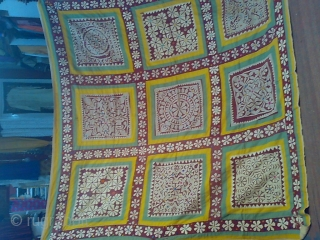 old appliQue rallis locally named as CHANDUA..it is part of dowry in a girls wedding..it mostly found in thar desrt of western rajasthan on border of pakistan or it founded in kutch  ...