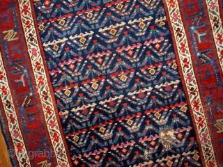 #1B442  Handmade antique Persian Kurdish distressed runner 3.4' x 12.3' ( 103cm x 375cm ) 1900.C